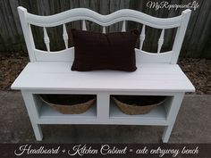 How to make an entryway bench using a headboard and a kitchen cabinet.