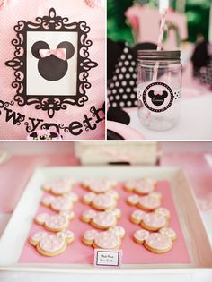 Adorable details in this Pink Minnie Mouse First Birthday Party! #pink #black #minnie #mouse #first #birthday #party