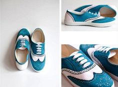 DIY shoes ideas - Hand painted sneakers with black kitten silhouettes