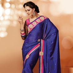 Dark #Blue Faux Satin #ChiffonSaree with Blouse