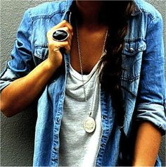 Denim top with a loose fitting T-shirt! Perfect casual look to-go, throw on some boots and you are good to-go!!