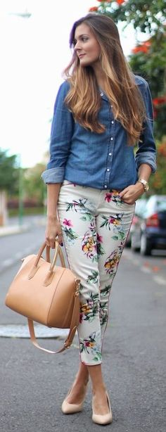 Floral printed pants + denim top + handbag.