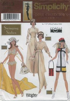 Retro Vintage Sewing Pattern | Doll Clothes for 11½ Fashion Dolls | Simplicity 9913 | Year 2001 | One Size | Swinging Sixties