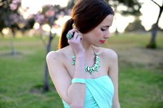 M Loves M: monochromatic: mint - wearing our Mint Crystal Necklace