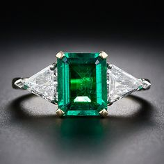 1.80 Carat Emerald and Diamond Ring