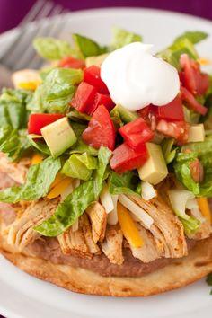 slow cooker chicken tostadas or flatbread