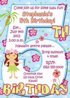 Little Girl's Luau Birthday Party Invitation  U by ThePartysOn, $13.00