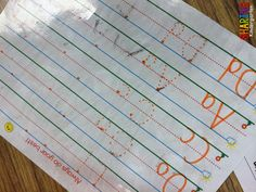 I love using this Smart Start paper from Frog Street. I write on it using an orange marker, then laminate... my students use a dry erase marker to practice letter formation.