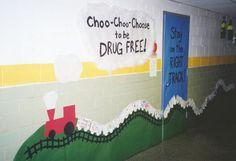 books, classroom theme, school, drug free, bulletin boardsdoor, bible verses, red ribbon week, trains, board idea