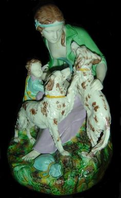 RARE MAJOLICA FIGURE GROUP IN PARIAN WARE BODY, PROBABLY MODELED BY WILLIAM BEATTIE C 1870  FOR WEDGWOOD