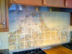 Map back splash behind the stove