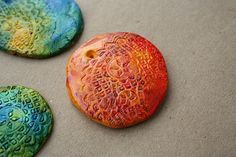Alcohol Ink on Polymer Clay Embossed Pendant Tiles