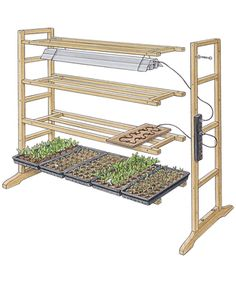 Nurture Seedlings on a Tiered Growing Stand --- This inexpensive, homemade stand holds 20 flats under fluorescent lights and heating cables. seedstart, plant stands, seed starter, seed starting, diy plant rack, start seed, garden