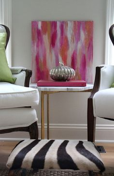 """Original Contemporary PINK Abstract Painting """"Lipstick""""  by Carolyn Shultz/BluePoppyDesign,"""