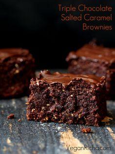 Triple Chocolate Salted Caramel Brownies. Vegan Recipe