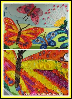 Mural from 'Upcycled' Lids: Butterfly in Detail