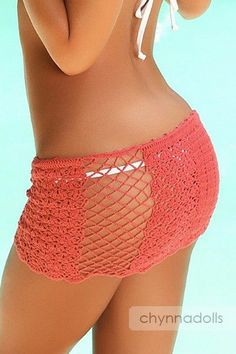 Mini Crochet Sarong Coral Skirt Beach Coverup inspiration only