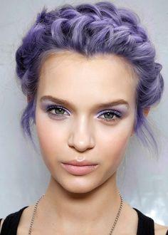 Purple hair. Purple Eyes.