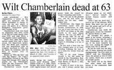 "A newspaper article about the death of basketball great Wilt Chamberlain, published in the Aberdeen Daily News (Aberdeen, South Dakota), 13 October 1999. Read more on the GenealogyBank blog: ""Remembering Robert E. Lee, John Denver & Wilt Chamberlain with Newspapers."""