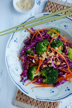 Asian Broccoli Salad with Sesame Ginger Dressing (sub honey for vegan of choice) #salads