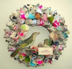 Vintage paper wreaths DIY
