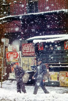 coca cola, american dream, 1950s, colors, snow, cocacola, new york city, saul leiter, photographi