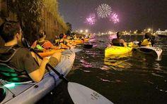 Night Kayaking - fireworks