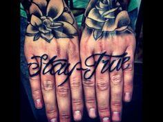Stay True finger tattoos