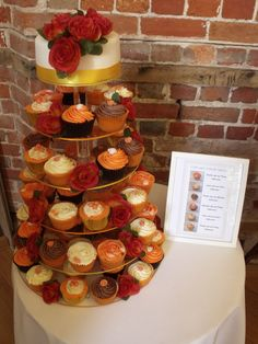 orange and brown wedding cupcakes
