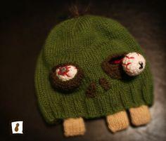 hats, idea, stuff, zombi beani, crochet, zombi hat, knit, zombies, cartoon zombi