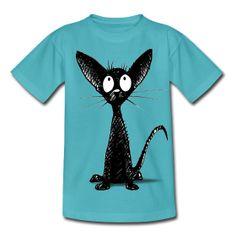 Cute Oriental Black Cat by Paul Stickland from Spreadshirt  Kids' Classic T-Shirt #strangestore