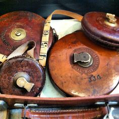 Old leather tape measures