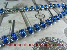 Silver and Blue Barrel BDSM Slave Collar by aislinnscollared, $40.00