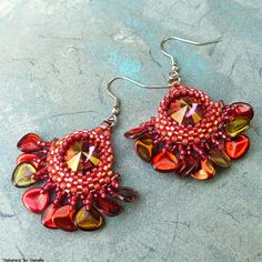 """Habanera"" necklace - Swarovski Rivoli Lilac Shade, TOHO, Miyuki seed beads, Czech rose petal beads"