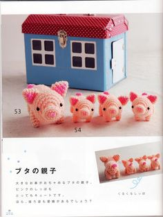 FREE Mini Pig and Piglets Amigurumi Crochet Pattern and Tutorial (click on right arrow to get to free chart)