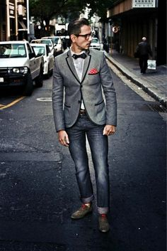 Love this look. #menswear #pocketsquare #jeans #bowtie #fashion #style