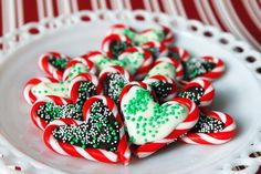 Candy cane hearts with chocolate!