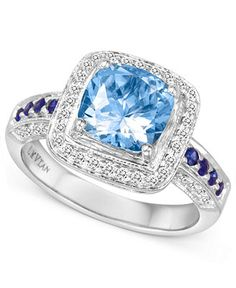 Le Vian 14k White Gold Ring, Aquamarine, Sapphire and Diamond Ring (1-3/4 ct. t.w.) - Rings - Jewelry & Watches - Macy's
