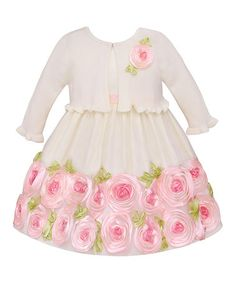 Another great find on #zulily! Ivory  Pink Rose Dress  Shrug - Toddler by American Princess #zulilyfinds