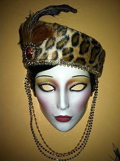 Clay Art Ceramic Mask Pretty Lady with Leopard Print Hat Extremely Rare | eBay