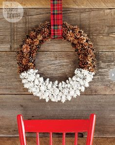 pinecone wreath dipped in paint - I love that it could stay up all Winter long too! #diy #wreath