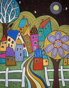 Moonlight Village by Karla Gerard - a needlepoint kit from The Silk Mill complete with all the silks.
