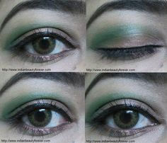 Green and Brown step by step eye makeup tutorial