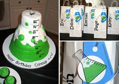 science beaker cake and #party favors