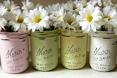 Painted and Distressed Shabby Chic Mason Jar Vases - Pencil Holder
