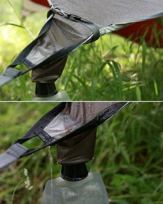 This is a neat concept. A tarp tent with a rain water collection system.