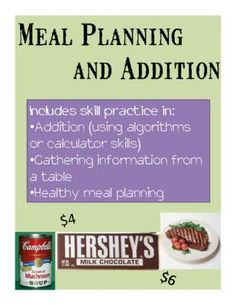 Math Practice through Meal Planning - A Life Skills Activity from Special Education Meets General Education on TeachersNotebook.com -  (6 pages)  - This is the perfect activity for middle school or high school students with moderate disabilities who need remediation and practice in basic arithmetic, but who are working through the transition process and need to start practicing life skills such as me