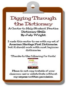 Digging Through the Dictionary is a center designed to help students practice beginning dictionary skills.  The center includes 48 word cards (I tr...   # Pinterest++ for iPad #