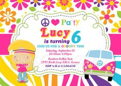 HIPPIE CHICK invitation  You Print by PrettyPartyCreations on Etsy, $11.50