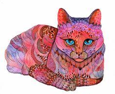 Intricate cat illustrations.